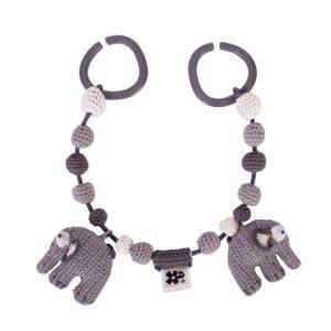 sebra Häkel-Kinderwagenkette, Elefant, grau 4006302