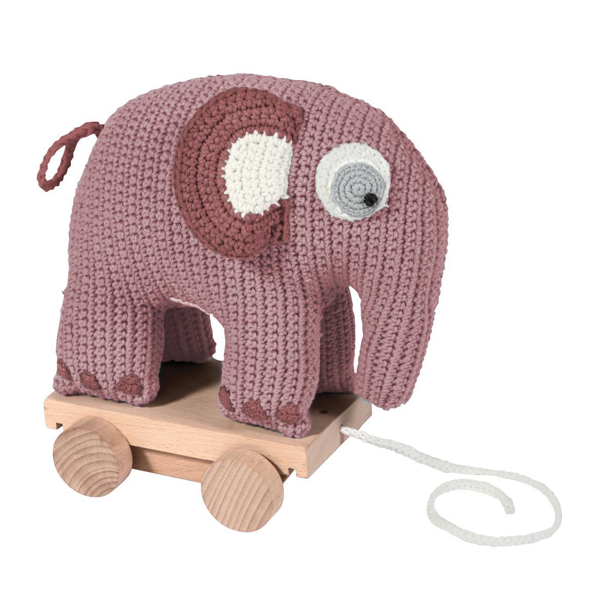 sebra Häkel-Nachziehtier, Elefant, altrosa 3001205 - 01