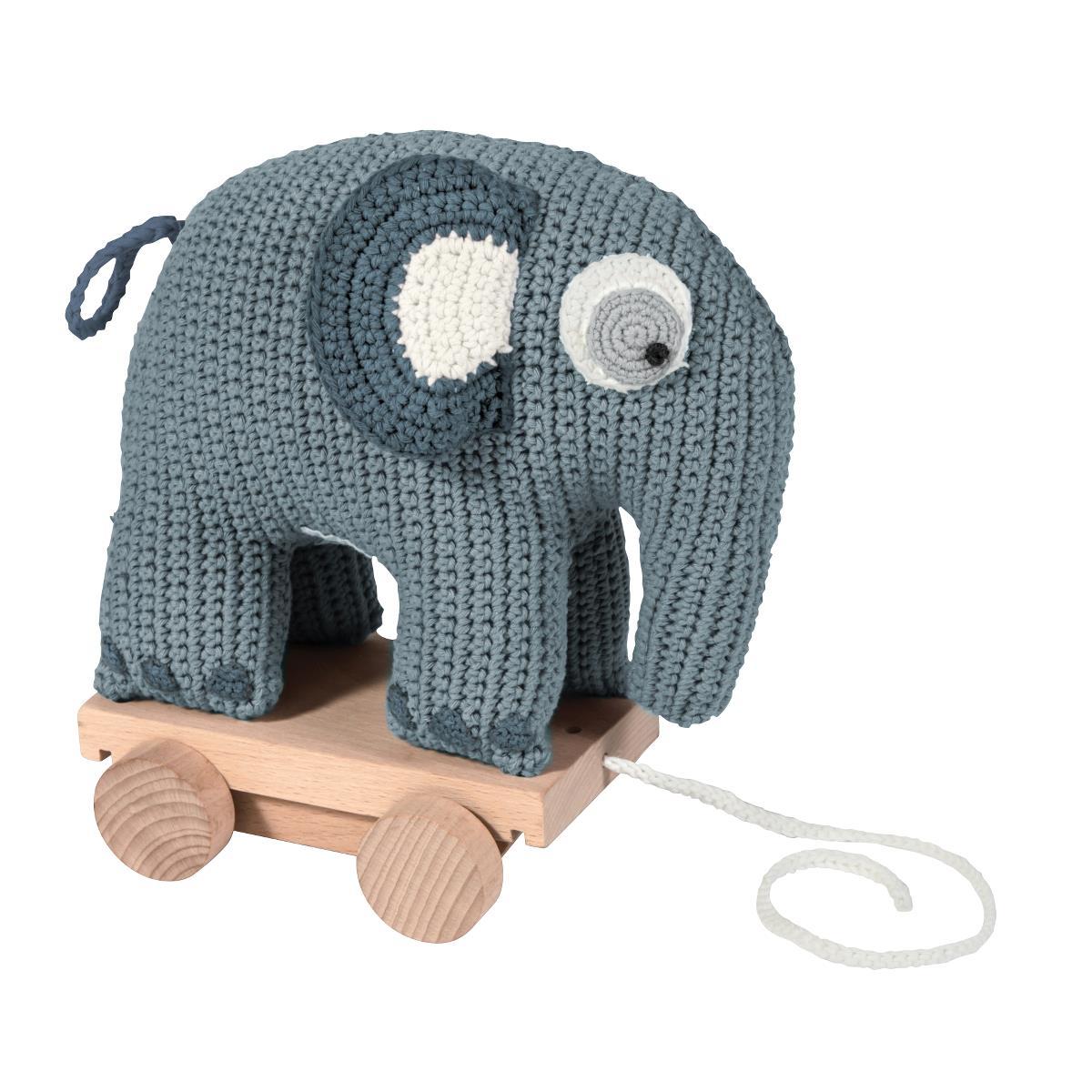sebra Häkel-Nachziehtier, Elefant, wolkenblau 3001105