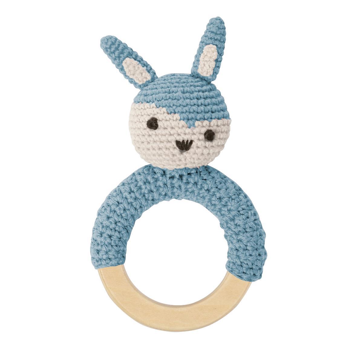 sebra Häkel-Rassel, Kaninchen auf Holzring, wolkenblau 3009102 - 01