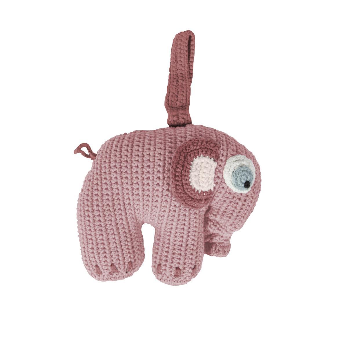 sebra Häkel-Spieluhr, Elephant, altrosa 3013202 - 01