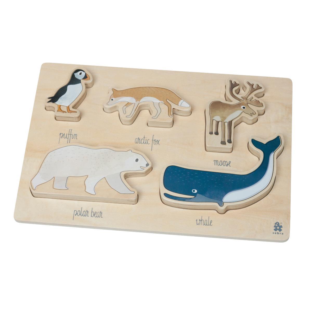 sebra Kräftiges Puzzle aus Holz, Arctic animals 3015204 - 01