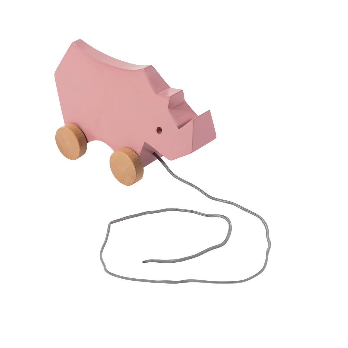 sebra Nachziehspielzeug aus Holz, Nashorn, altrosa 3017203 - 01