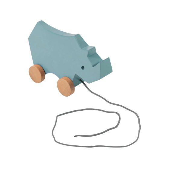 sebra Nachziehspielzeug aus Holz, Nashorn, wolkenblau 3017103 - 01