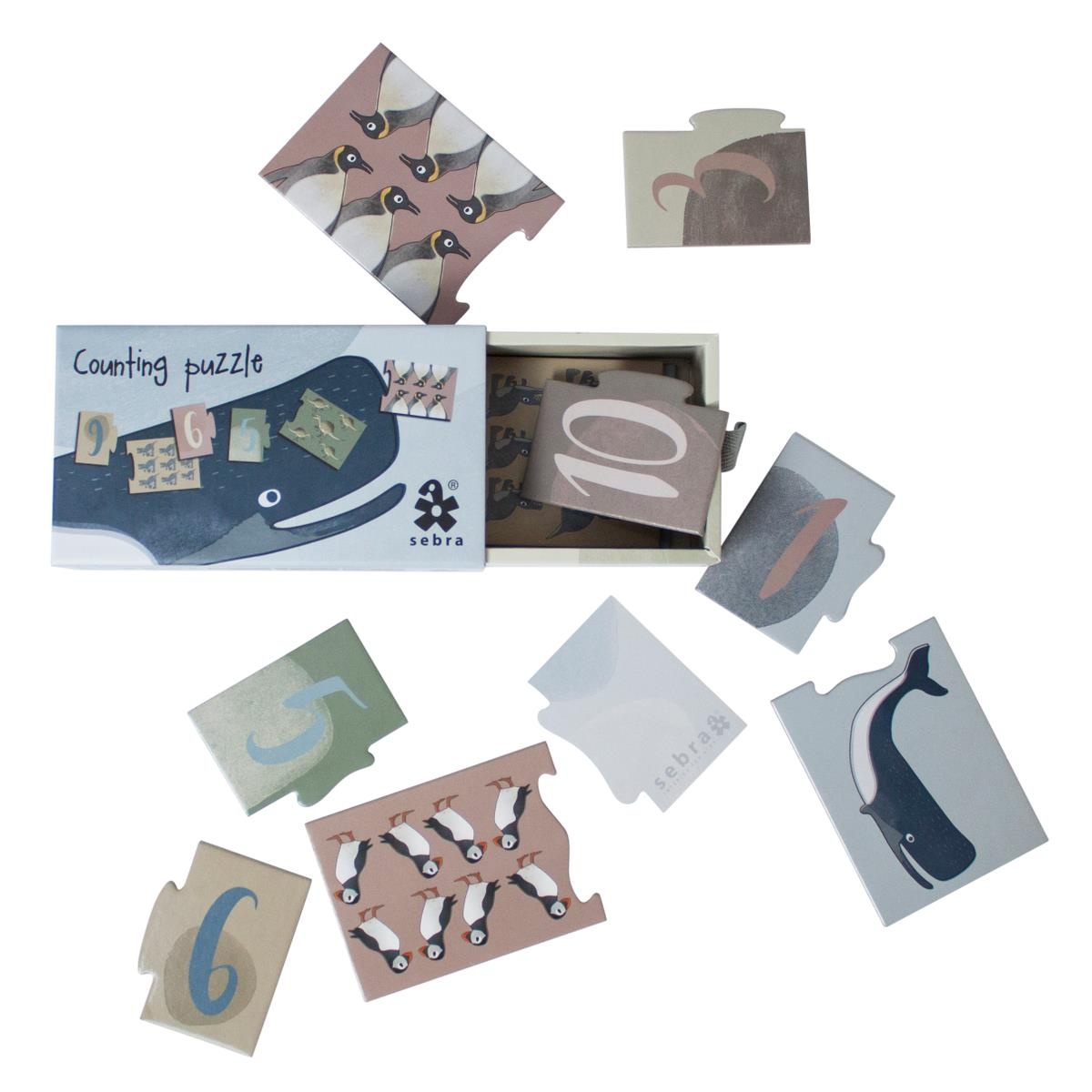 sebra Puzzle mit Zahlen, 1-10, Dino:Arctic animals 3015306 - 01