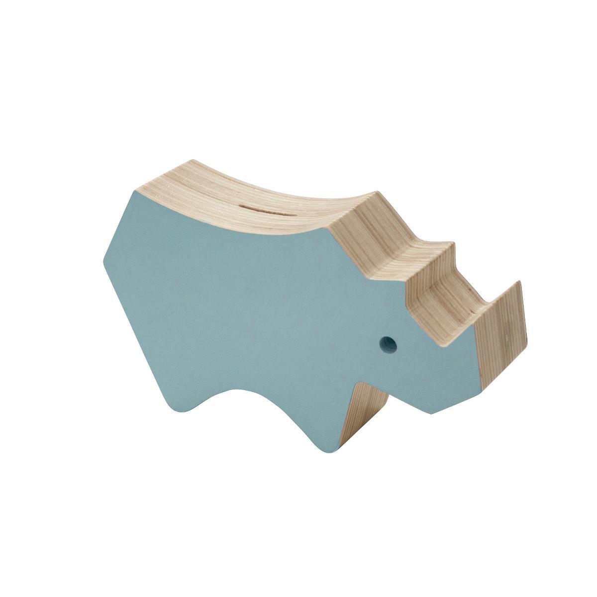 sebra Spardose aus Holz, Nashorn, wolkenblau 3017102