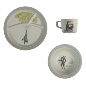sebra Bambus Melamin Geschirr-Set, 3-teilig, In the Sky, Uni - 01