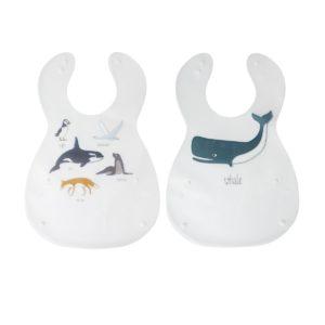 sebra Kunststoff Lätzchen, 2er set, Arctic animals 7005208