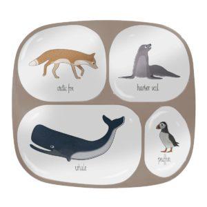 sebra Melamin-Menüteller mit 4 Fächern, Arctic animals 7006201