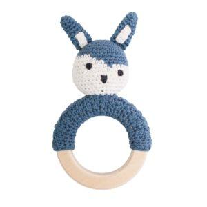 Sebra Häkel-Rassel, Kaninchen auf Holzring, köningsblau 3009107