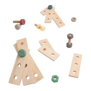 Bau-Spielset aus Holz warmes grau 3017307