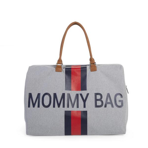 Childhome Mommy Bag in grau mit Streifen – große Wickeltasche - 01