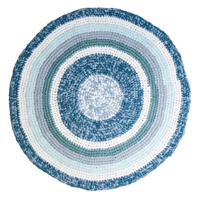Sebra Teppich tannenblau melange, Häkelteppich 4003108 - 01