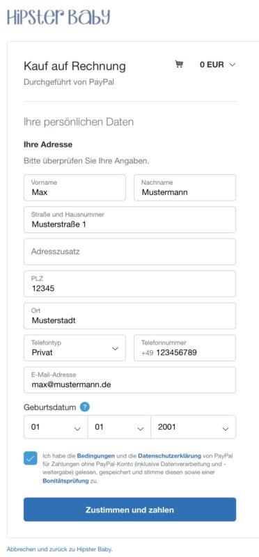 PayPal Rechnung Screenshot