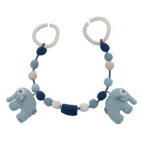 Häkel-Kinderwagenkette, Fanto der Elefant, lagoon blue