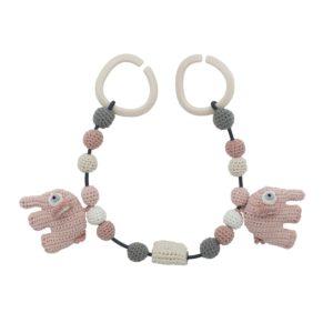 Sebra Häkel-Kinderwagenkette, Fanto der Elefant, grapefruit pink 8010205 - 01