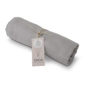 Saga Copenhagen Pucktuch Hula, Silver Grey, Musselintuch in Bio-Baumwolle, 100 x 100 cm
