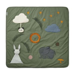 "Liewood Activity-Decke Glenn ""faune green"", Bio-Baumwolle, 120x120cm"