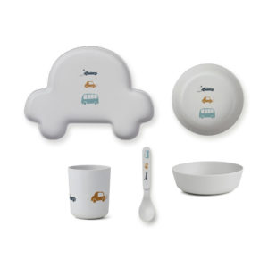 "Liewood Bambus Geschirr-Set ""Car dumbo grey"", 5-teilig"