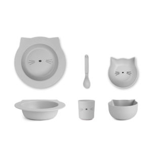 "Liewood Barbara Bamboo Baby Geschirr-Set ""Cat dumbo grey"""