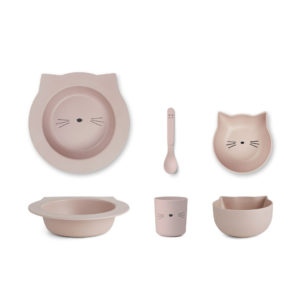 "Liewood Barbara Bamboo Baby Geschirr-Set ""Cat rose"""