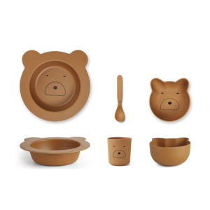 "Liewood Barbara Bamboo Baby Geschirr-Set ""Mr bear mustard"""