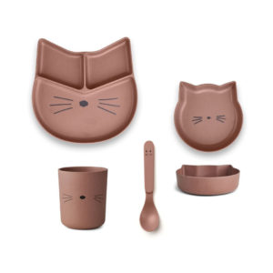 "Liewood Jules Junior Bamboo Geschirr-Set ""Cat dark rose"""