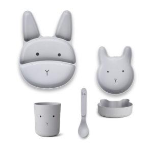 "Liewood Jules Junior Bamboo Geschirr-Set ""Rabbit dumbo grey"""