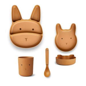 """Liewood Jules Junior Bamboo Geschirr-Set """"Rabbit mustard"""""""