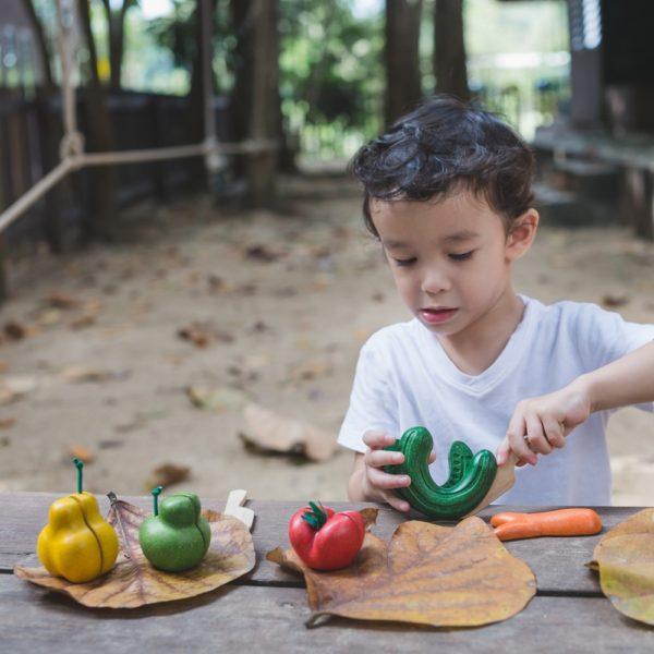PlanToys Früchte Set aus Holz beim Spielen