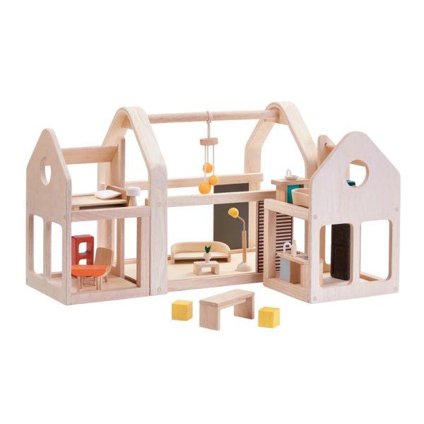 PlanToys Slide N Go Puppenhaus mit Möbeln