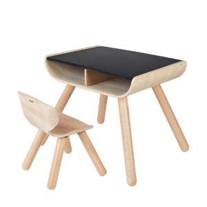 PlanToys Tisch & Stuhl Set, natur : schwarz