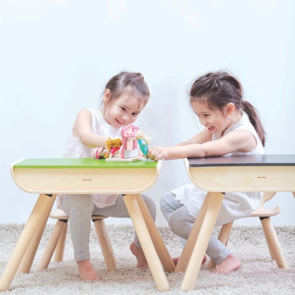 PlanToys Tisch & Stuhl Set Natur Schwarz