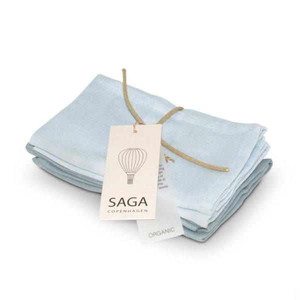 Saga Copenhagen Musselin-Waschlappen Birta, Ice Blue