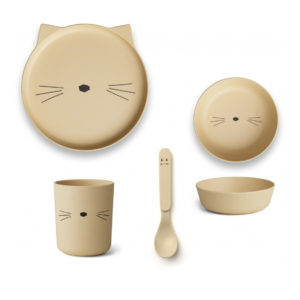 "Liewood Bambus Geschirr-Set ""Cat smoothie yellow"", 5-teilig"