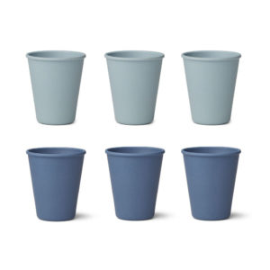 "Liewood Gertrud Bambus-Becher ""Blue mix"", 6er-Set"