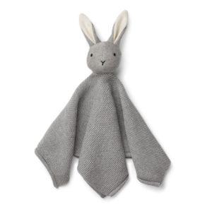 """Liewood Milo Schmusetuch """"Rabbit grey melange"""", gestrickt"""