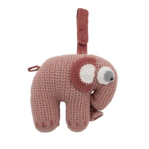 Sebra Häkel-Spieluhr, Fanto der Elefant, blossom pink