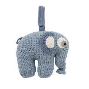 Sebra Häkel-Spieluhr, Fanto der Elefant, powder blue