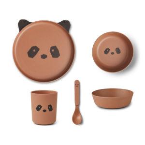 "Liewood Bambus Geschirr-Set ""Panda tuscany rose"", 5-teilig"