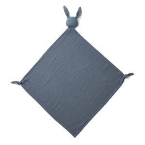 """Liewood Robbie Musselin Kuscheltuch """"Rabbit blue wave"""", 60x60cm"""