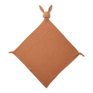 """Liewood Robbie Musselin Kuscheltuch """"Rabbit terracotta"""", 60x60cm"""