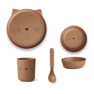 """Liewood Bambus Geschirr-Set """"Cat terracotta"""""""
