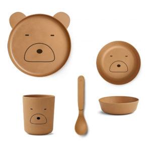 """Liewood Bambus Geschirr-Set """"Mr. Bear mustard"""""""