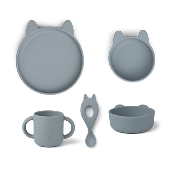 "Liewood Vivi Silikon Geschirr-Set ""Rabbit sea blue"", 4er-Set"