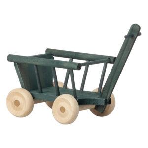 Maileg Bollerwagen aus Holz, petrol, H5cm