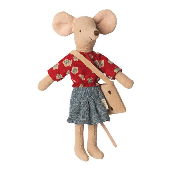 Maileg Mutter Maus mit roter Bluse und Rock, 15cm