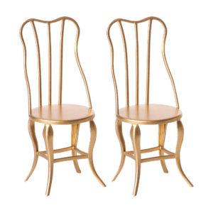 Maileg Vintage Stuhl-Set, Mirco, Gold, H10cm