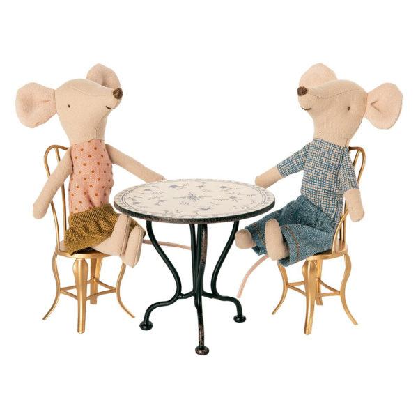 """Maileg Vintage Tisch """"Tea Table"""" Micro, H7,5cm mit Mäusen"""