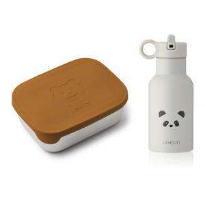 "Liewood Joni Lunchbox-Set ""Mr. Bear mustard : Panda light grey mix"" inkl. Anker Trinkflasche"